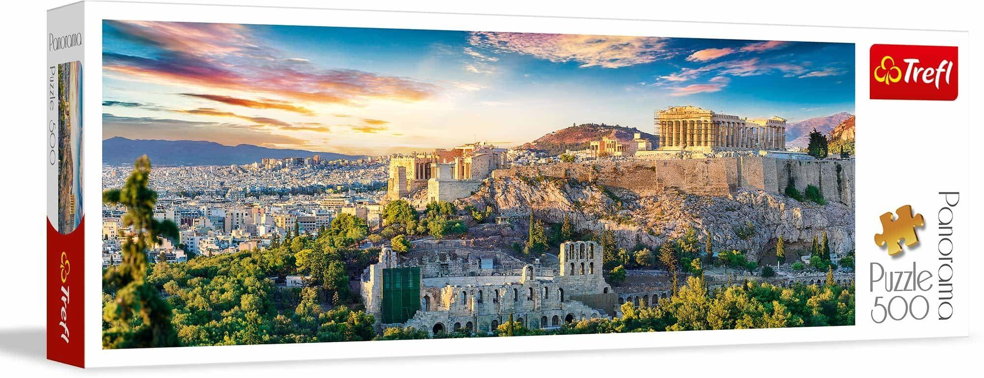 Trefl Akropol, Ateny Puzzle Panoramiczne 500 Elementów o Wysokiej Jakości Nadruku dla Dorosłych i Dzieci od 10 lat