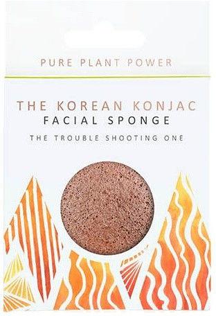 Gąbka Konjac Premium The Elements - Ogień z wulkaniczną Skorią dla cery problematycznej, tłustej i zanieczyszczonej