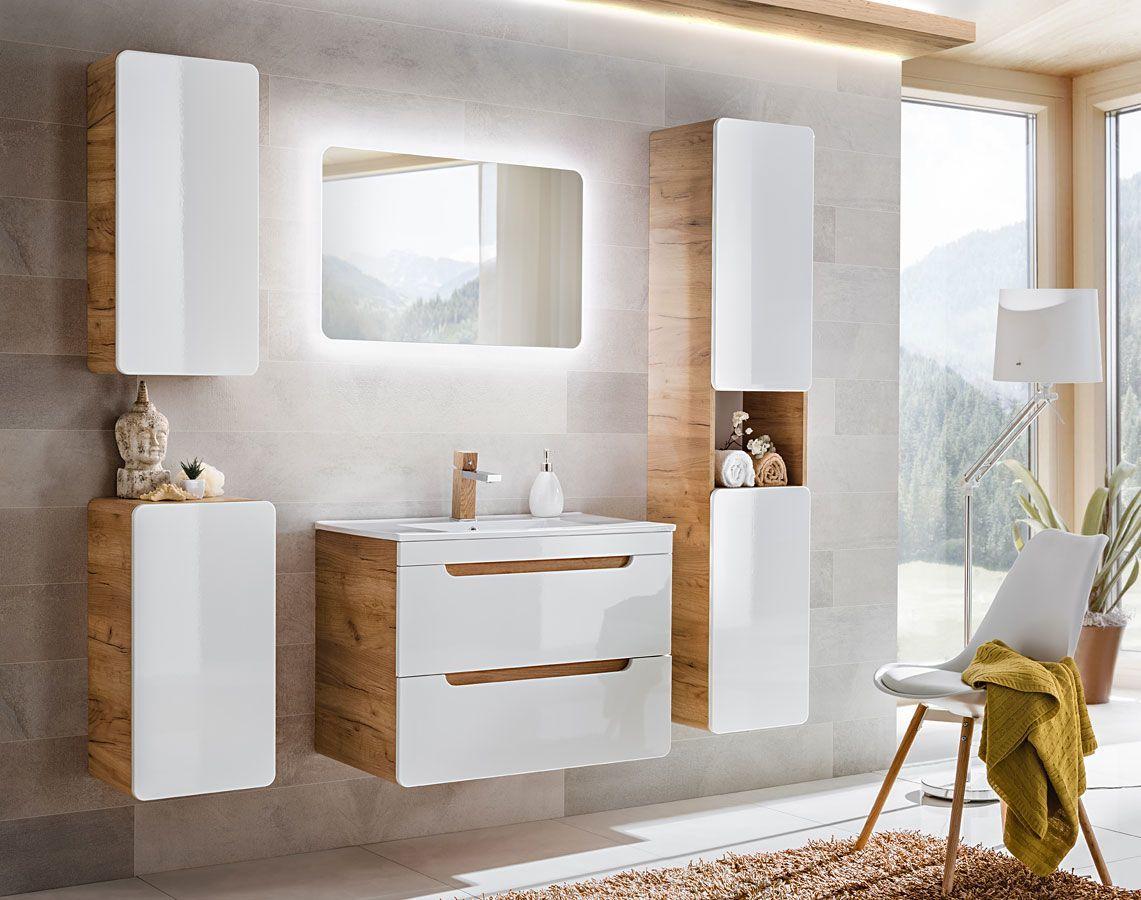 Zestaw podwieszanych mebli łazienkowych Borneo 3Q 80 cm - Biały