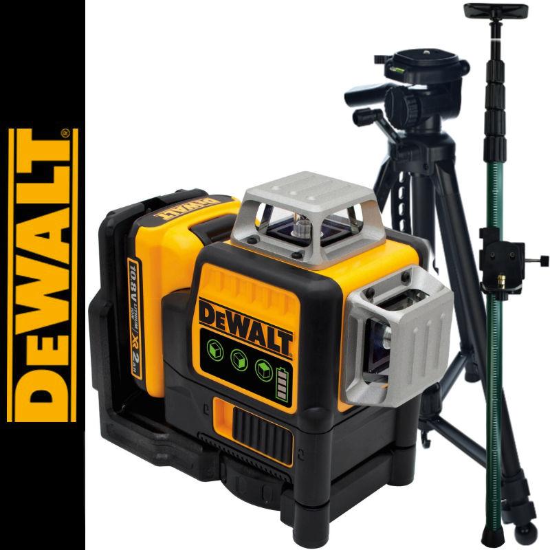 Laser płaszczyznowy DCE089D1G DeWalt + Tyczka 3,2m + Statyw 1.4m