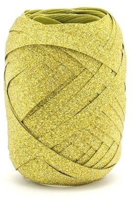 Wstążka plastikowa brokatowa złota 5mm 10m PRB5-10-019