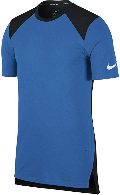 Nike męska skóra de basketball à manches courtes Breathe Elite T-Shirt, Signal Blue/Black/White, FR : S (talia tkaniny: S)