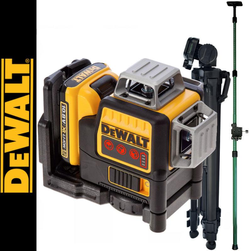 Laser płaszczyznowy DCE089D1R DeWalt + Tyczka 3,2m + Statyw 1.4m