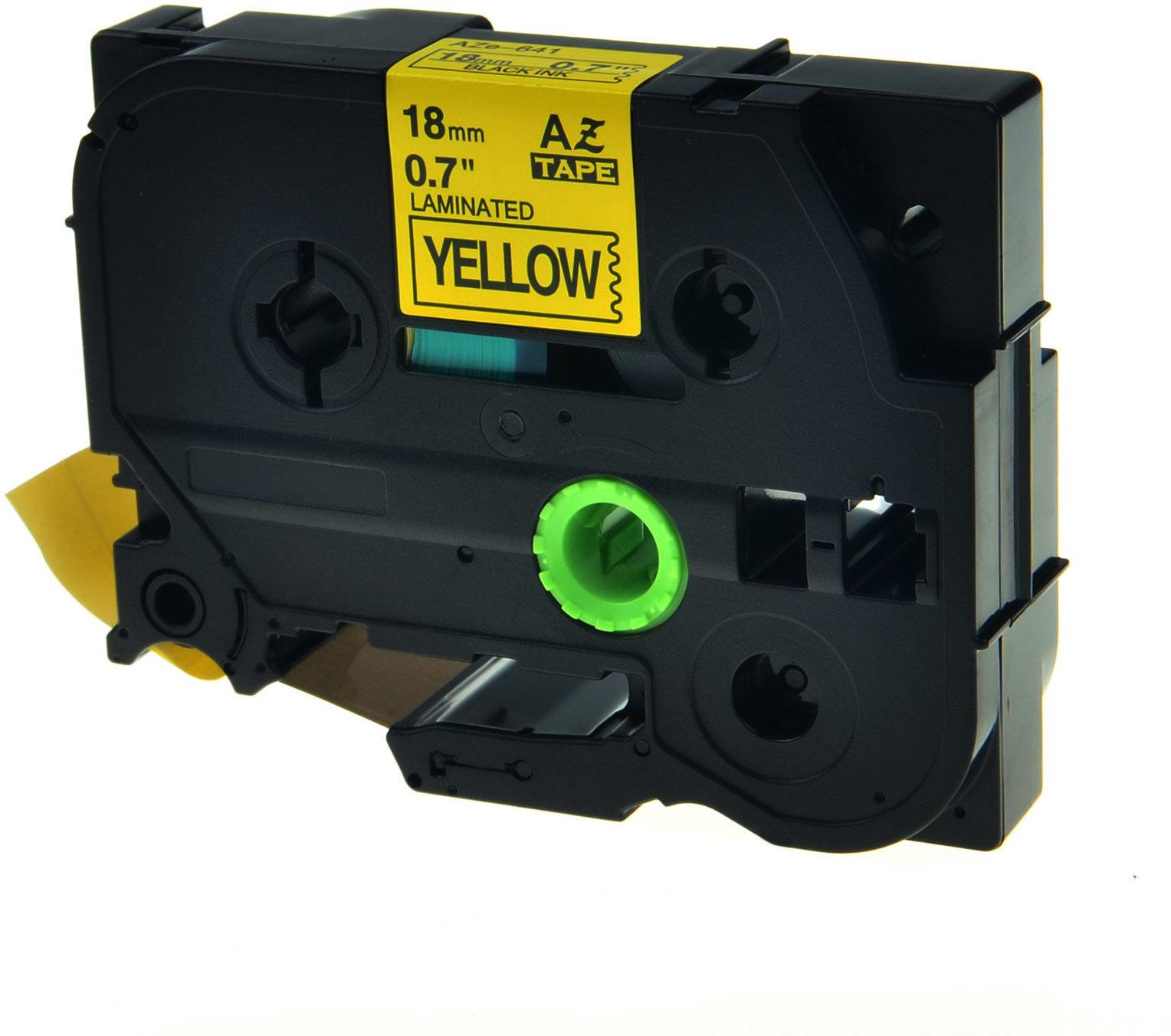 Brother TZe-V641, 18mm x 5,5m, czarny druk / żółty podkład, vinyl, taśma zamiennik