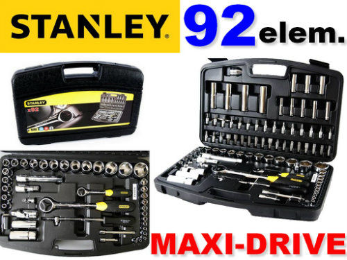 Zestaw kluczy nasadowych 92 elem. STANLEY (95-586)