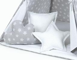 MAMO-TATO Komplet poduszek 3 szt. Gwiazdy bąbelkowe białe duże / kropki szare
