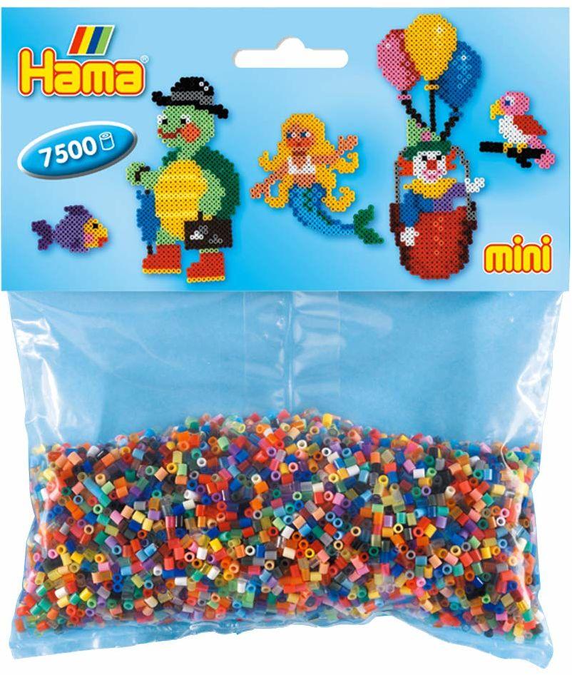Hama 583 mini koraliki do prasowania, ok. 7500 sztuk w 49 różnych kolorach, wielokolorowe