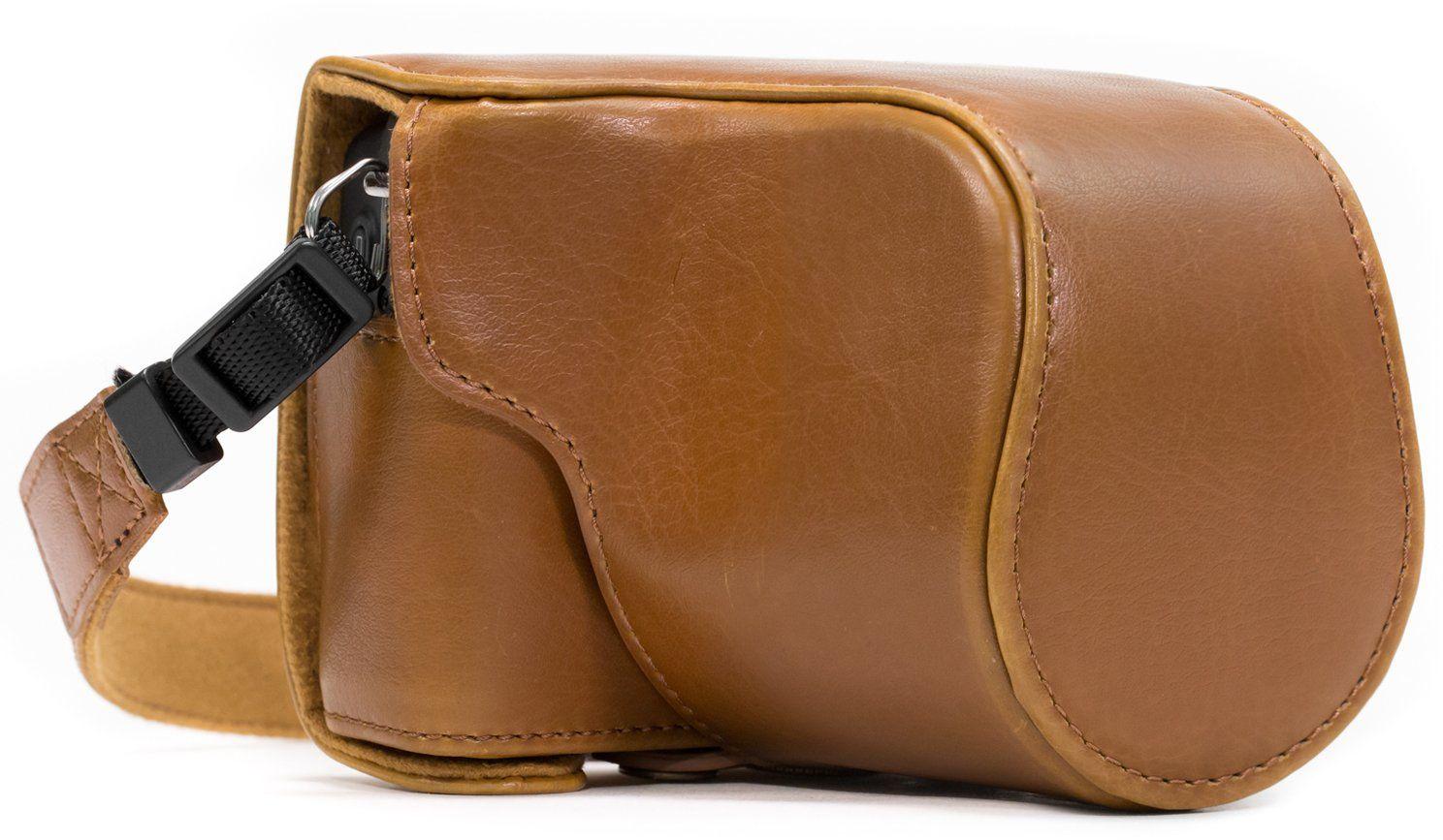"""MegaGear """"Ever Ready"""" skórzana torba na aparat z paskiem do noszenia do Canon EOS M10 jasnobrązowa"""