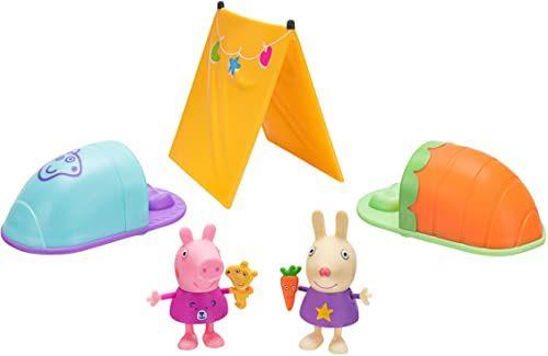 Peppa Pig PEP0559 Peppa zestaw figurek do zabawy, impreza noclegowa w namiocie zestaw do zabawy