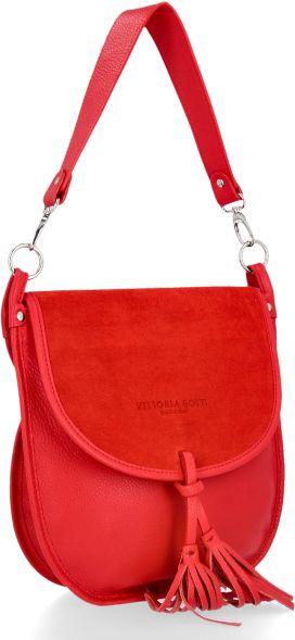 Uniwersalne Torebki Skórzane Listonoszki firmy Vittoria Gotti Czerwona (kolory)