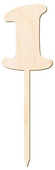 Drewniany topper na tort cyfra 1 Urodziny Roczek DTU-01-DR