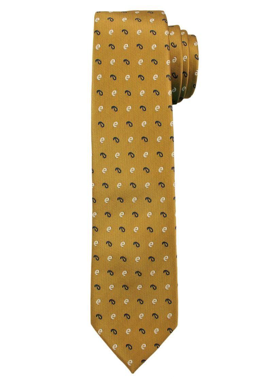 Złoty Elegancki Męski Krawat -ALTIES- Żółty, Wzór Paisley KRALTS0209