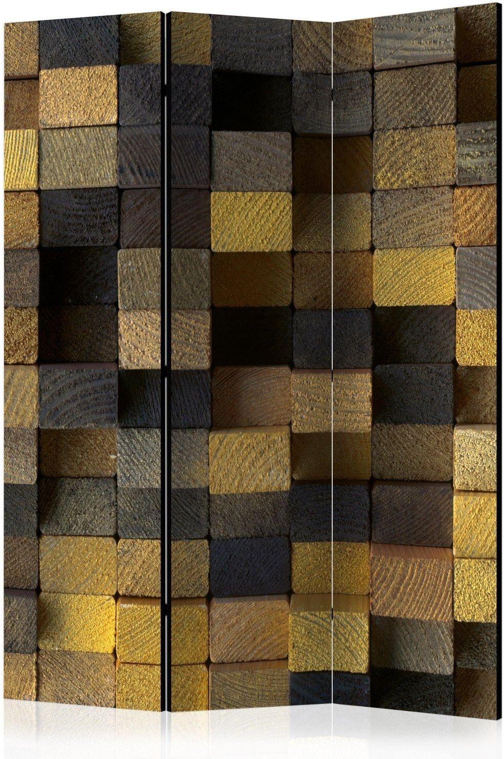Parawan 3-częściowy - drewniane kostki [room dividers]