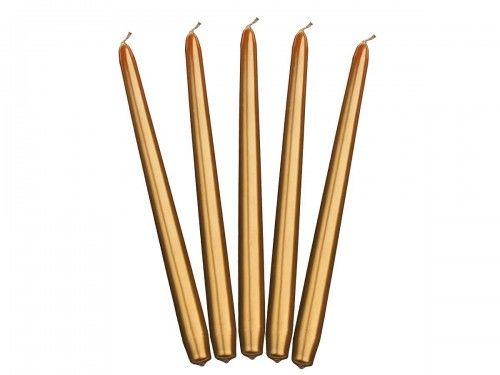 Świece stołowe złote metalizowane 24 cm, (10 szt.)