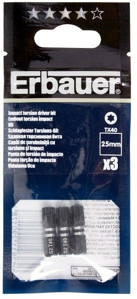 Bity udarowe Erbauer 25 mm TX40 3 szt.