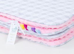 MAMO-TATO Kocyk Minky dla niemowląt i dzieci 75x100 Romby szare / jasny róż