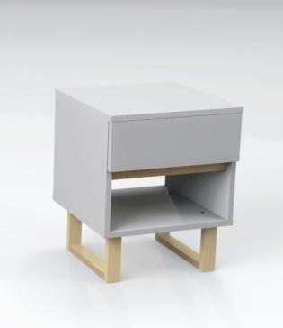 Skandynawski stolik nocny / szafka nocna (z szufladą i półką) - 2 kolory