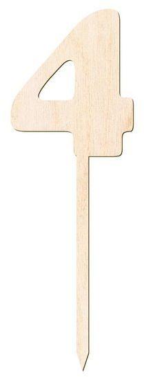 Drewniany topper na tort cyfra 4 Urodziny DTU-04-DR