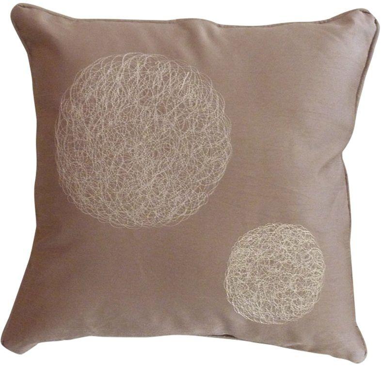 HomeMaison HM69890794 poduszka z różnymi okrągłymi haftami, kolor taupe