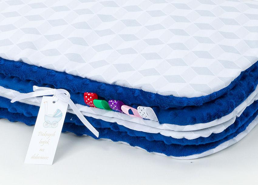 MAMO-TATO Kocyk Minky dla niemowląt i dzieci 75x100 Romby szare / granatowy