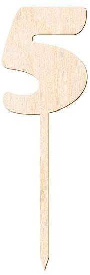 Drewniany topper na tort cyfra 5 Urodziny DTU-05-DR