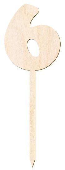 Drewniany topper na tort cyfra 6 Urodziny DTU-06-DR