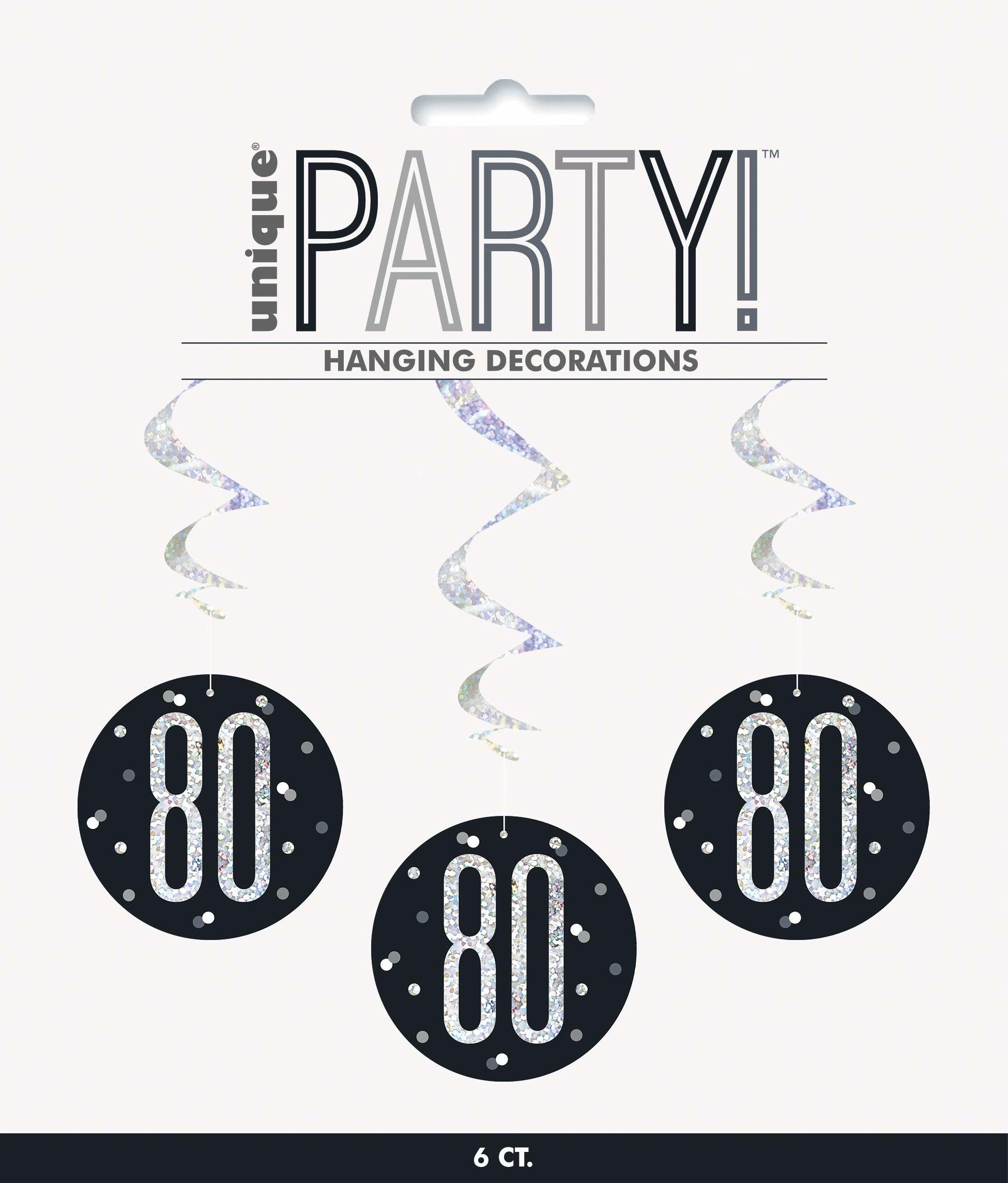 Unique Party 83790 83790-wisząca wirowa brokatowa czarno-srebrna dekoracja na 80. urodziny, opakowanie 6, czarny, wiek 80 lat