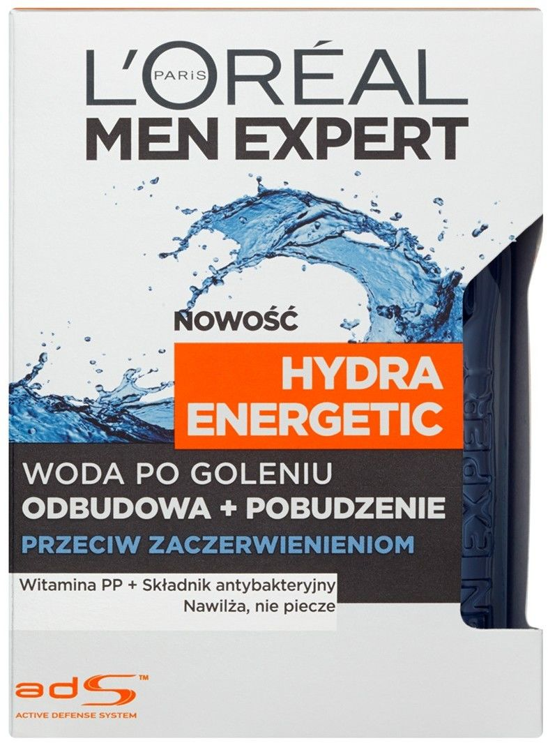 L''Oreal Men Expert Woda Po Goleniu Hydra Energetic przeciw podrażnieniom 100 ml