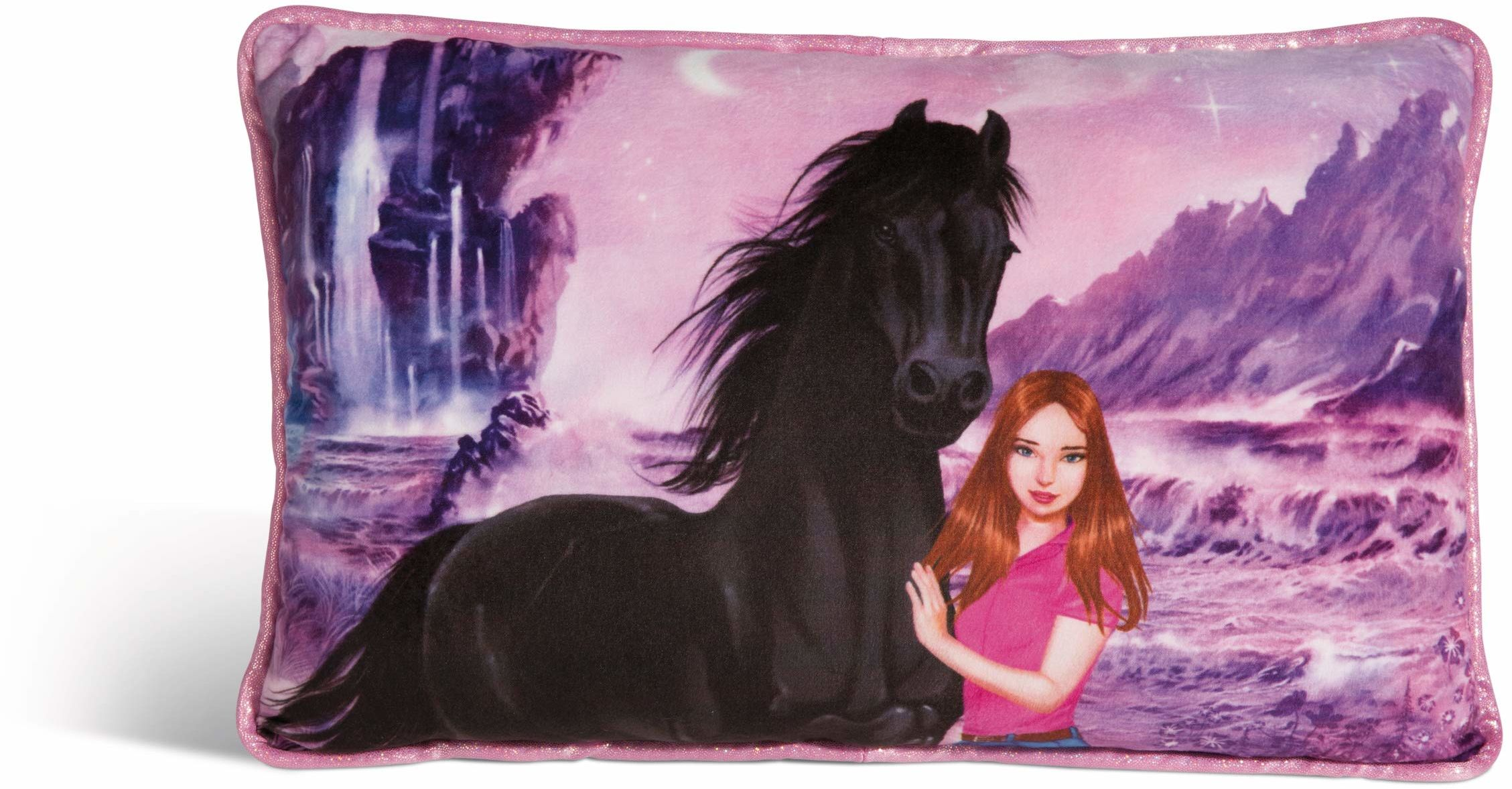 NICI 44903 Poduszka Soulmates Mystery Hearts prostokątna 43x25 cm, kolorowa/liliowa
