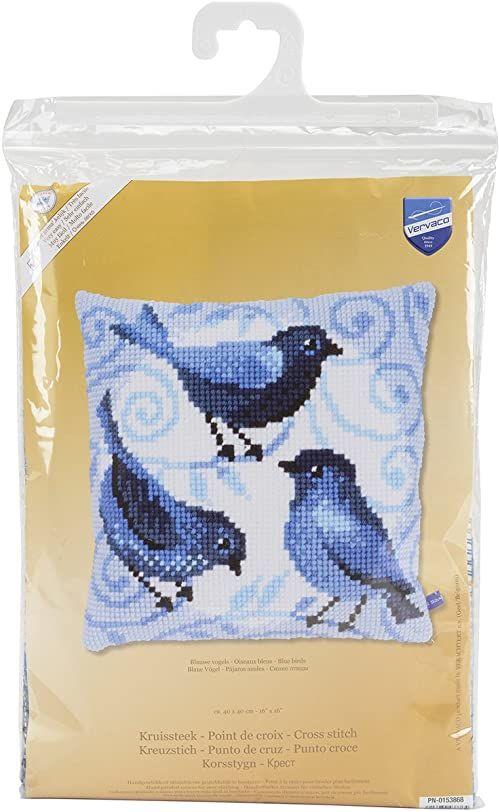Vervaco Poduszka do haftu krzyżykowego: niebieskie ptaki wielokolorowy, 40 cm