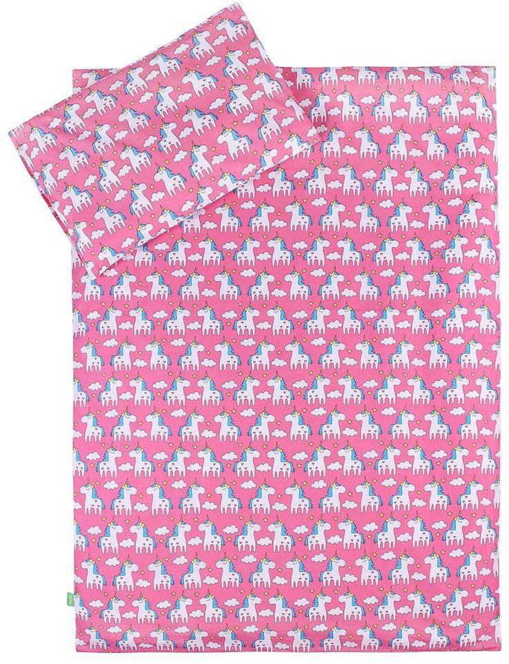 LULANDO Pościel dziecięca zestaw pościeli 2-częściowy poszewka na poduszkę i poszewka na kołdrę, materiał wierzchni 100% bawełna. Pasuje do łóżeczek dziecięcych 70 x 140 cm, kolor: Unicorn / różowy