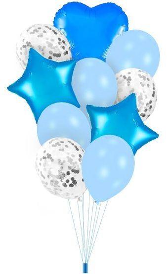 Zestaw balonów niebieskie gwiazdki serduszko konfetti 10 sztuk 400364