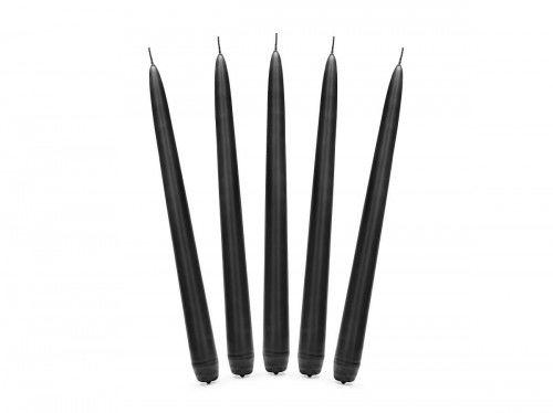 Świece stołowe czarne 24 cm, (10 szt.)