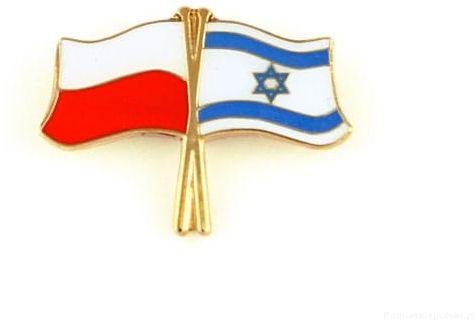 Flaga Polska - Izrael, przypinka