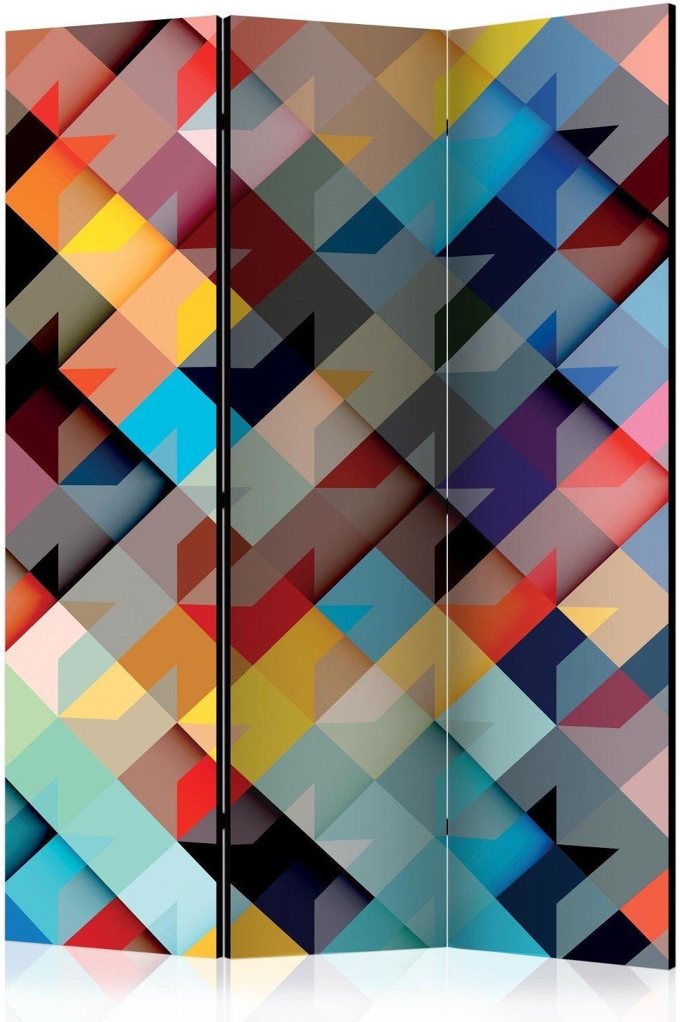 Parawan 3-częściowy - kolorowy patchwork [room dividers]