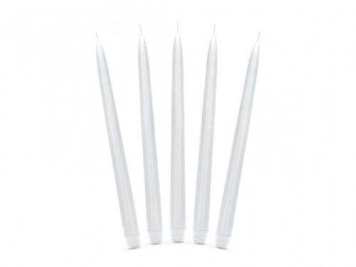 Świece stołowe białe 24 cm, (10 szt. )