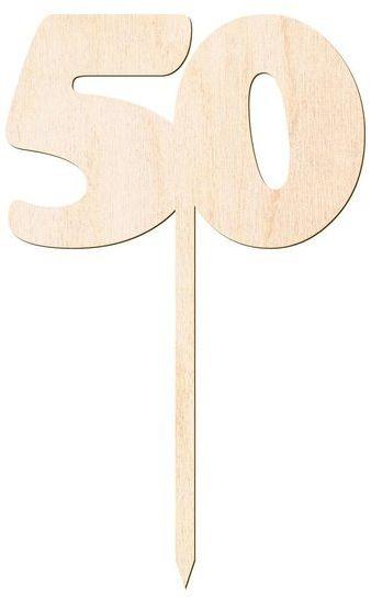 Drewniany topper na tort cyfra 50 Urodziny DTU-50-DR