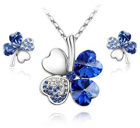 Komplet Swarovski Elements Koniczynki Blue