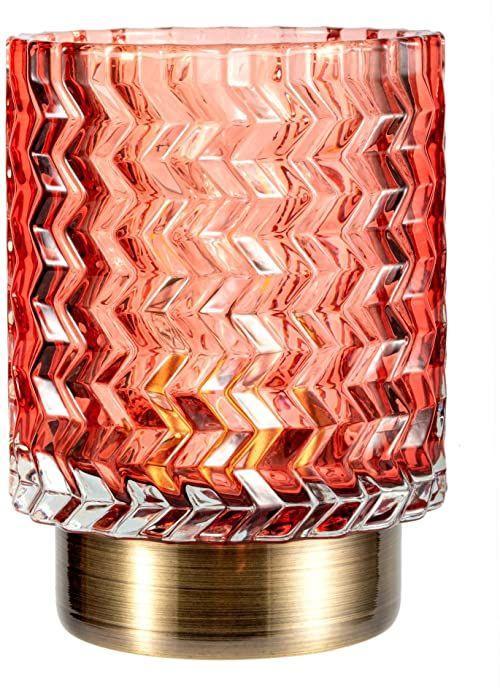 Pauleen 48130 Słodki Glamour przenośna oprawa zegar stołowy funkcja 6H bateria lampa bez kabla szkła / metalu, 0,4 W, różowy, mosiądz