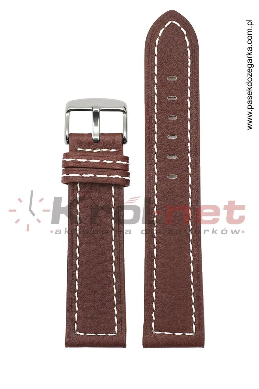 Pasek TK020BR/B/20 - brązowy, przeszywany