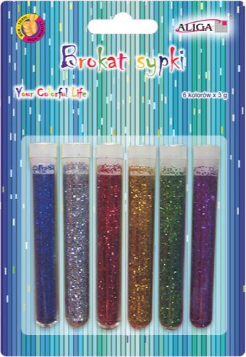 Brokat sypki w fiolkach mix kolorów 6 sztuk GL-036