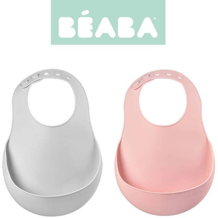 Beaba - Zestaw Śliniaków Silikonowych z Kieszonką 2 Szt. Light Mist + Vintage Pink