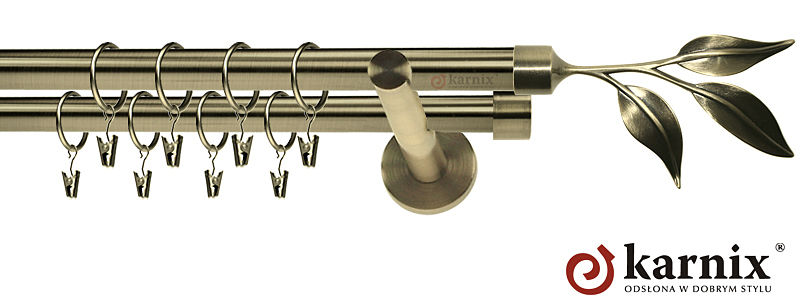 Karnisze nowoczesne NEO podwójny 19/19mm Liść antyk mosiądz