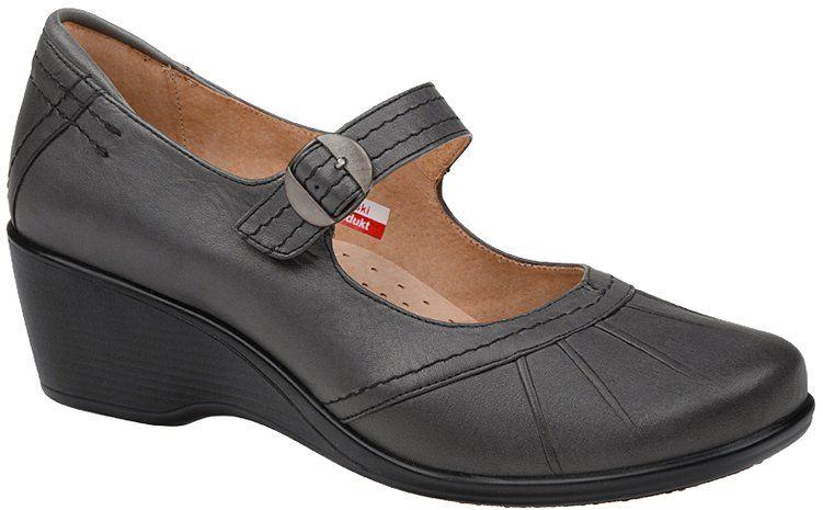 Półbuty na koturnie AXEL Comfort 1147 Grafitowe buty na Haluksy H