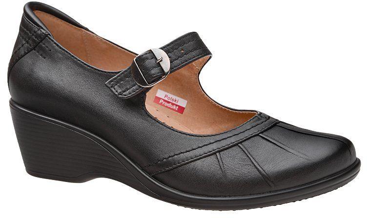 Półbuty na koturnie AXEL Comfort 1147 Czarne buty na haluksy Tęgość H