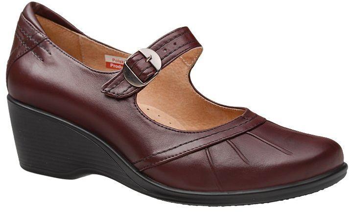 Półbuty na koturnie AXEL Comfort 1147 Rubin Bordowe H buty na Haluksy