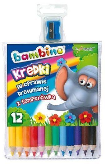 Kredki Bambino drewniane 12 kolorów + temperówka