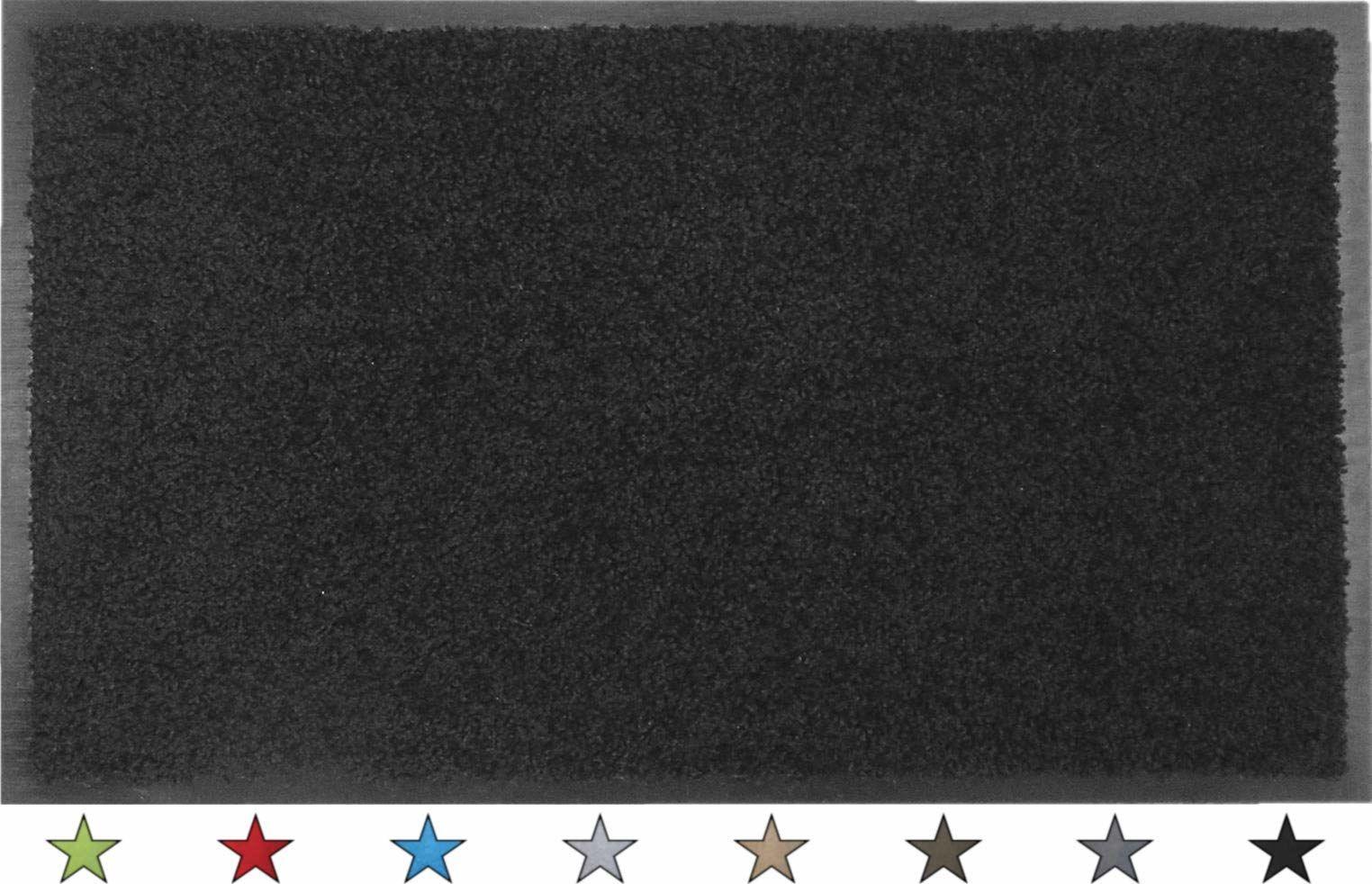 """oKu-Tex Wycieraczka mata zatrzymująca brud """"Eco-Clean"""" czarna guma z recyklingu do wnętrz obszar wejściowy / drzwi wejściowe / klatka schodowa / korytarz antypoślizgowa 60 x 90 cm"""