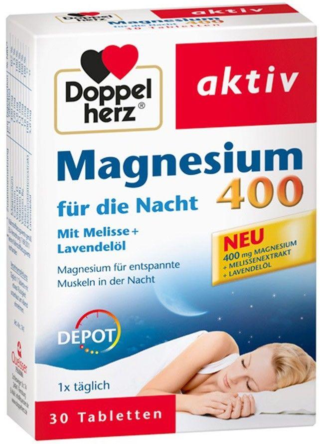 Doppelherz Magnez 400 tabletki na noc z melisą i lawendą
