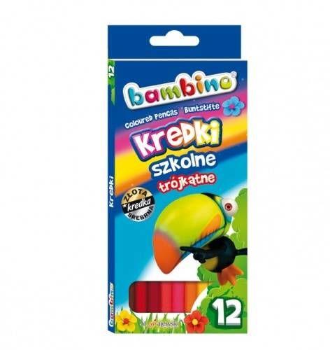 Kredki Bambino trójkątne 12 kolorów (mix wzorów opakowań)